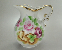 Small Wash Basin Water Pitcher Pink Purple Roses Gold Trim  - $11.99