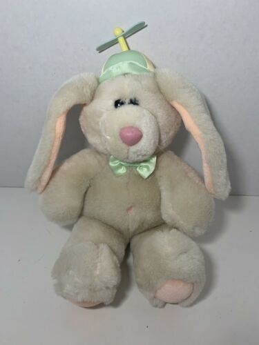 Primary image for Dakin vintage 1988 plush tan peach bunny rabbit bow green yellow propeller hat