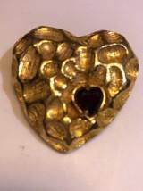 Vintage Signed Jeanne Goldtone Rhinestone Heart Trembler Pin Brooch Rare - $38.63