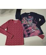 Long Sleeve T-shirts, Fushia with Multi-colored Dots & Dark Blue, L, Set... - $19.20