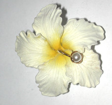 Vintage plastic tropical Flower Pin/Brooch made in Germany white/yellow ... - $16.00