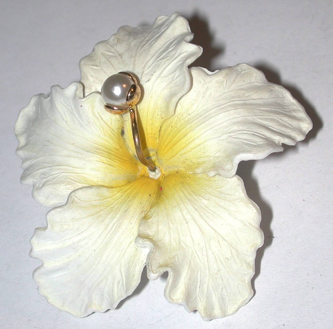 Vintage Plastic Tropical Flower Pin/Brooch Made In Germany