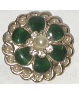 Vintage signed Coro Rhinestone Enamel faux pearl Flower Pin/Brooch - $14.00