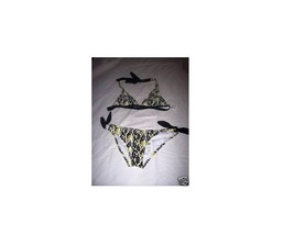 WOMEN'S JUNIORS ZOO YORK LOGO HALTER BIKINI SWIMSUIT YELLOW/BLACK  NEW $50 - $26.99