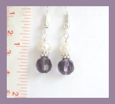 Purple Faceted Crystal &  White Freshwater Pearl Earrings