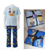 BEAVIS & BUTTHEAD-Mens PAJAMA PJ SHIRT Lounge PANTS-2 Pc Set Fleece Blue... - $22.97