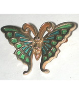 small Enamel Butterfly bug Pin/Brooch Goldtone Signed Napier Blue/Green ... - $11.00