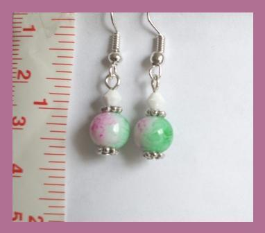 Pink & Green Crystal Lampwork & Swarovski Crystal Earrings