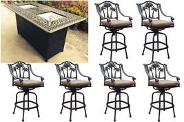 Fire pit propane bar table set 7 piece outdoor cast aluminum Palm Tree bar stool image 2