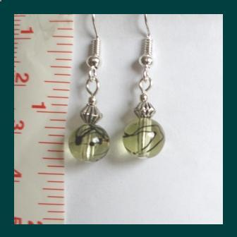 Yellow Crystal Lampwork & Tibetan Silver Bicone Earrings