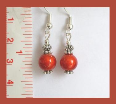 Vintage Orange Crystal Lampwork Earrings