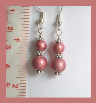 Vintage Mauve Crystal Lampwork Earrings