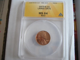 1970-S , Lincoln Cent , LARGE DATE , MS 64 , Red - $29.00