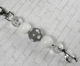 Polka Dot Bubblegum Handmade Beaded Keychain Purse Charm White Grey Silver - $13.09