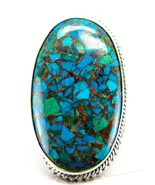 Dramatic Oval Cabochon Blue-Green Chrysocolla S... - $93.68