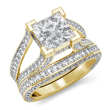 14k Yellow Gold Plated 925 Silver Bridal Wedding Ring Set Princess Cut White CZ - $112.30