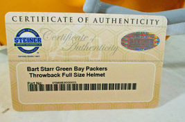 BART STARR / AUTOGRAPHED FULL SIZE GREEN BAY PACKERS THROWBACK HELMET / STEINER image 7