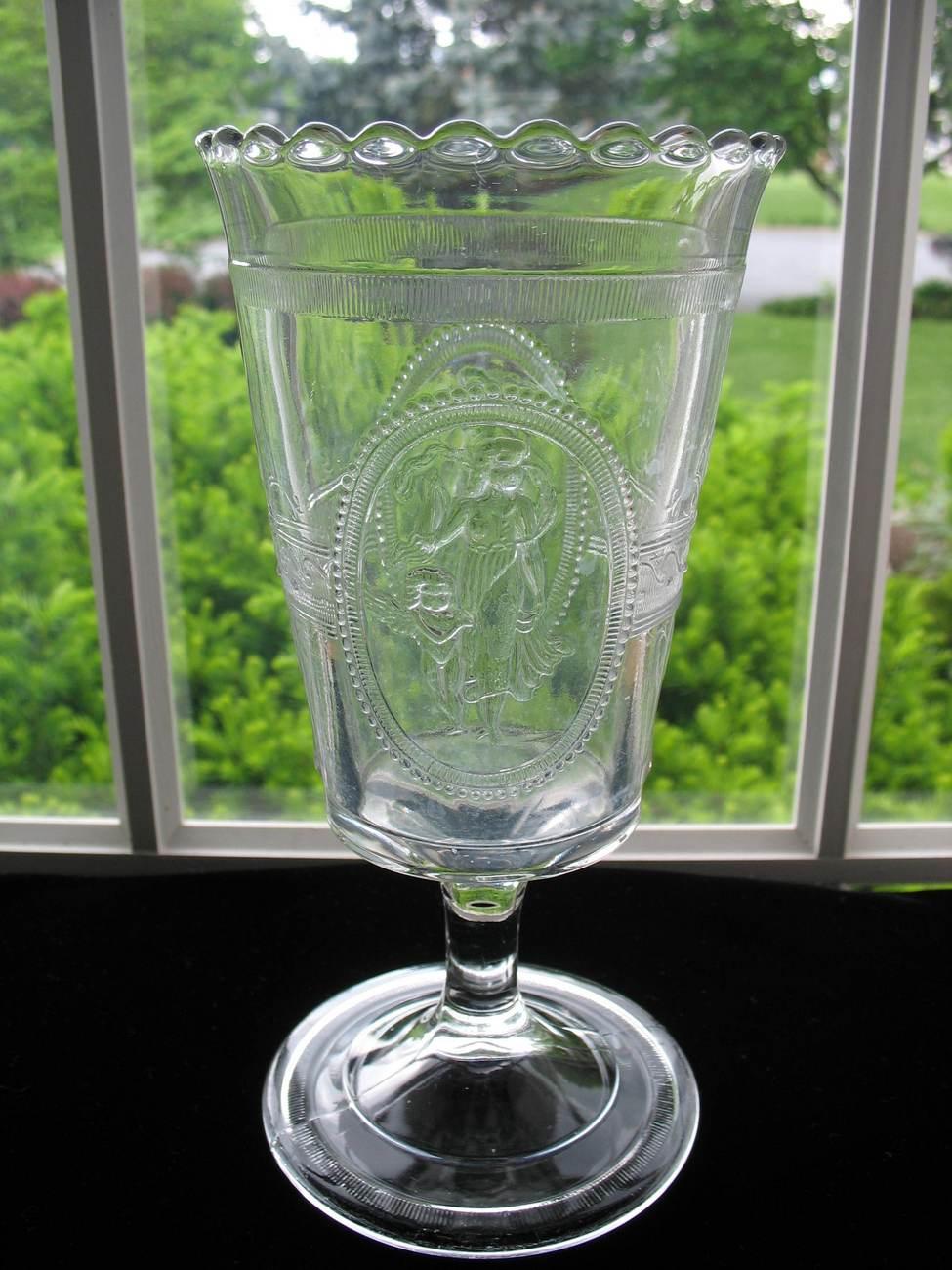 ANTIQUE EAPG Glass Footed Celery Vase CUPID & VENUS