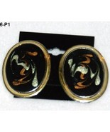 Abstract Design Black Oval Gold-Rimmed  Post Earrings - $5.99