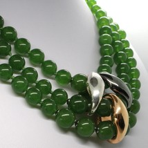 GREEN JADE 925 STERLING YELLOW BURNISHED SILVER NECKLACE STRAND, THREE WIRES image 2
