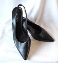 "Women's Size 7M  Jessica  Black Slingback Heels Pointed Toe 2"" Heels - $8.81"