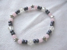 "Girl Teen 5.5"" Stretch Bracelet Stars & Pink & Purple Beads Scrap Ditty - $6.36"