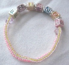 "Girl Teen 6"" Stretch Bracelet Friends Pink Yellow Beads Pastel Block Scr... - $6.36"