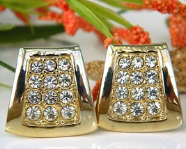 Vintage Pave Rhinestone Earrings Gold Tone Trapezoid Clips - $18.95