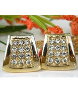 Vintage Pave Rhinestone Earrings Gold Tone Trap... - $18.95