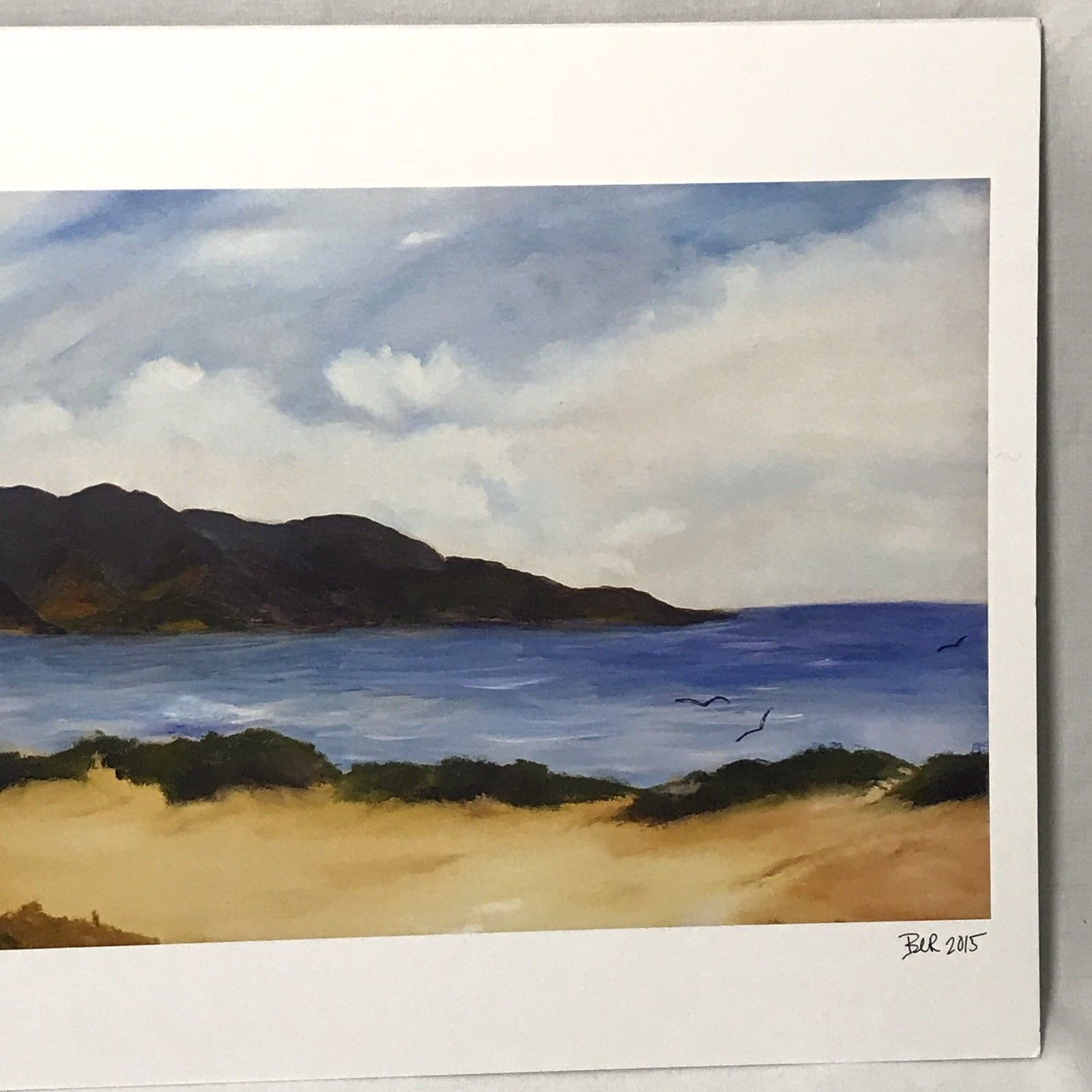 """Beach Ocean with Gulls and Mountains Art Print Signed BER 2015 11"""" x 17"""""""