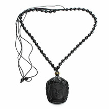 Lucky Buddha Pendant Natural Obsidian Black Carved Necklace - 1 x RANDOM image 1