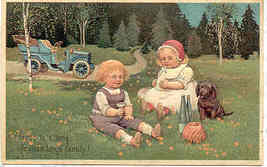 A Picnic With Our Puppy Paul Finkenrath Vintage Post Card - $7.00