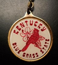 Kentucky Blue Grass State Key Chain Red Print with Cardinal on White and Gold - $6.99