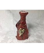 Vase Steampunk Vessel Handmade Polymer Clay Heart Vase Useable Ceramic V... - $45.00