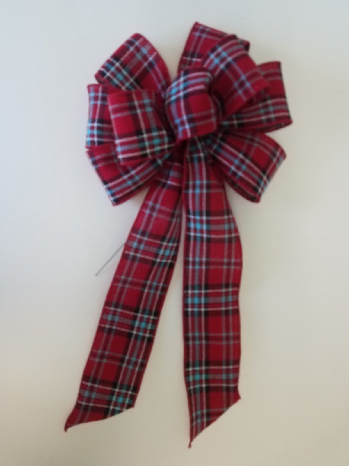 "Primary image for 4 Large 10"" Hand Made Red & Blue Plaid Bows - Christmas Winter Cabin"