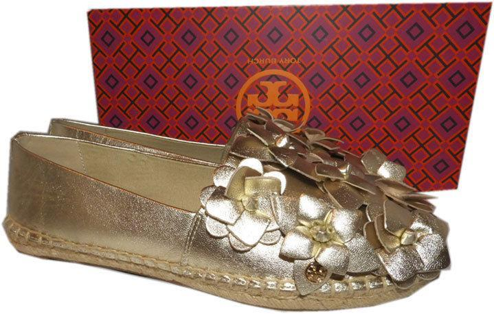 Tory Burch Blossom Gold Leather Platform Espadrilles Floral Flats Shoes 9