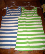 OLD NAVY WOMEN'S SET OF TWO TANK TOPS SIZE XLRG GREEN BLUE STRIPED TANKS... - $16.99