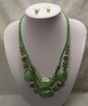 Green Necklace & Earring Set with Glass Seed Beads & Lucite Beads Chunky... - $9.99