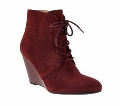 Isaac Mizrahi Lace-up ~  Suede Grooved Wedge Boots ~ Mulberry ~ Women's Size 9M - $30.40
