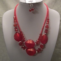 Red Necklace & Earring Set with Glass Seed Beads & Lucite Beads Chunky S... - $9.99