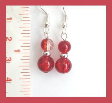 Red Silver Foil Core Lampwork Earrings
