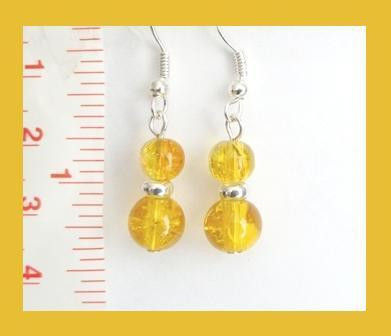 Yellow Silver Foil Core Lampwork Earrings