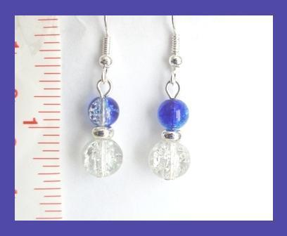 Clear & Blue Silver Foil Core Lampwork Earrings