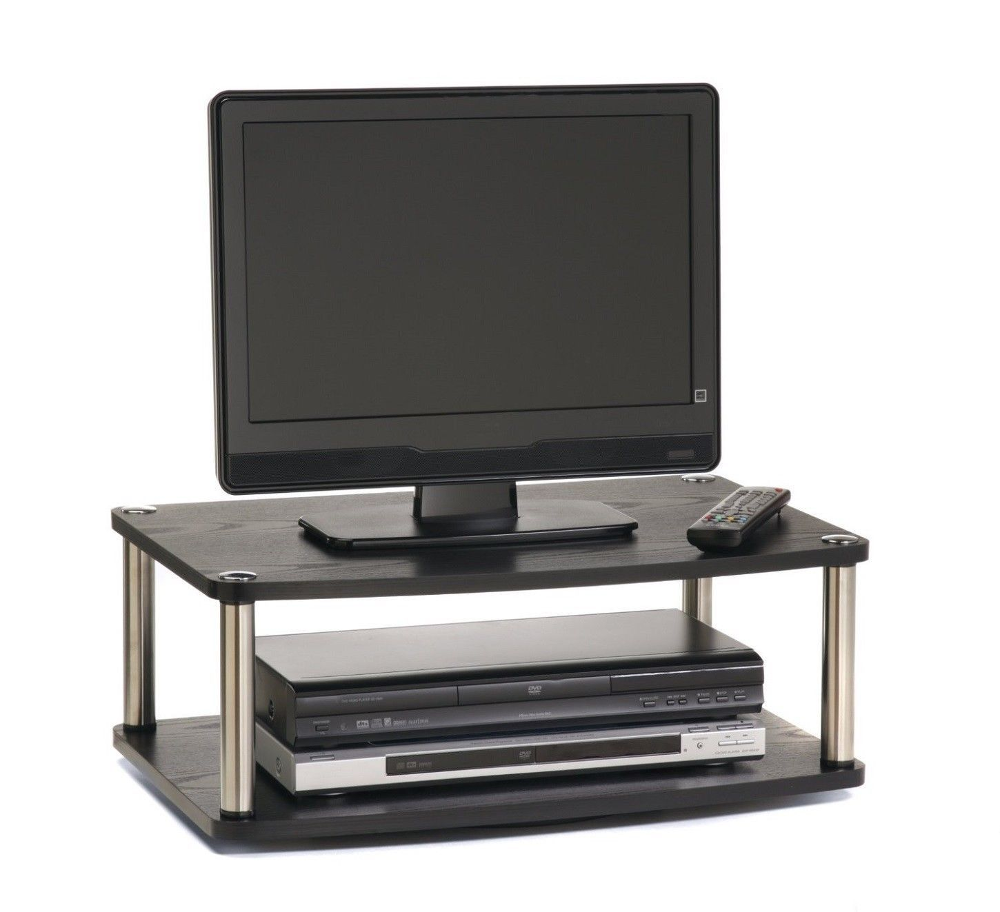 Counter Top TV Stand Swivel 360 Degrees Blk 2 Tier Organizer TV Plus Components