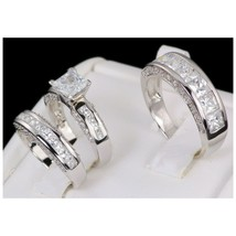 His and Hers Matching Engagement Wedding Band Ring Set Sterling 5-10 Wom... - $170.62