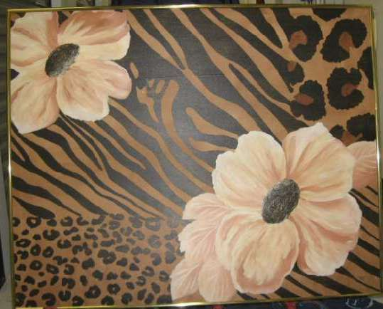 Tait Painting on Canvas Flowers Brass Framed Signed.