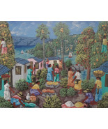 Haitian Art Painting Signed Alaby Haiti Oil on Board Genre 02177 - $199.00