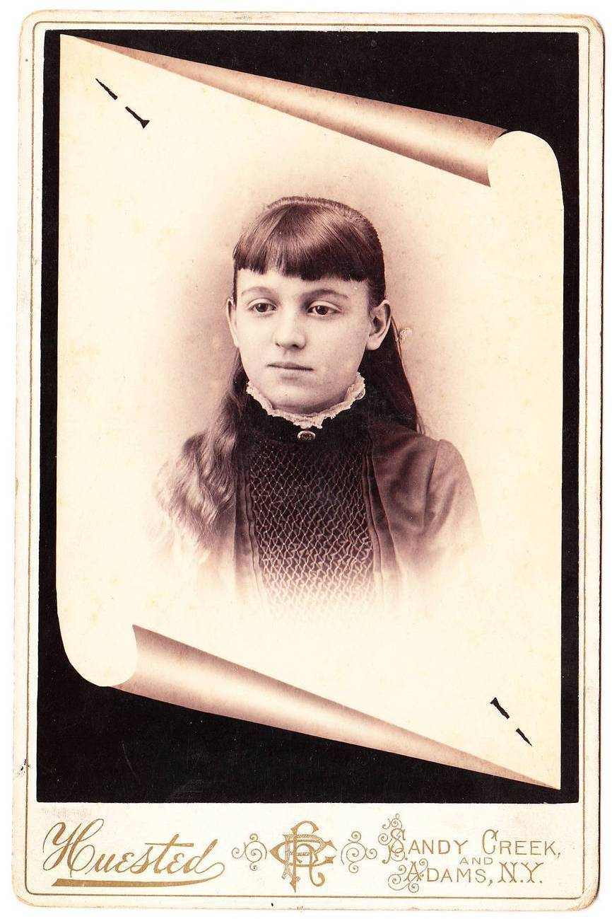 Antique 1889 Cabinet Card Photo Young Girl Sandy Creek NY