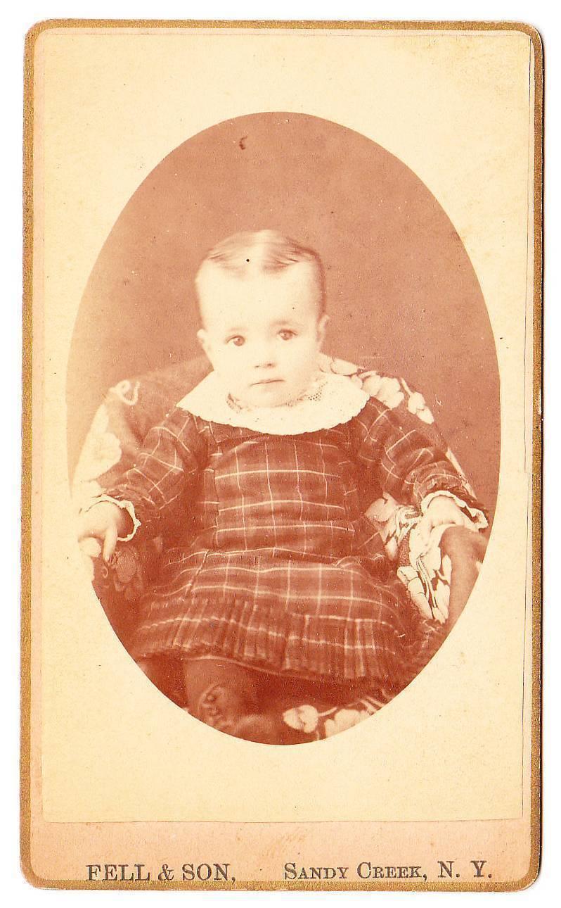 Cdv girl baby plaid dress
