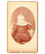 Antique CDV Photo Baby Girl Plaid Dress Sandy Creek NY - $3.95